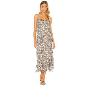 Theory Asymmetric Cami Dress in Leopard Silk